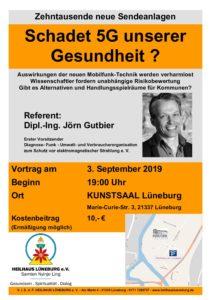 """Vortrag: """"Schadet die neue Mobilfunk-Technik 5 G unserer Gesundheit ?"""" @ Kunstsaal Lüneburg"""